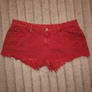 Ralph Lauren Distressed Red Shorts